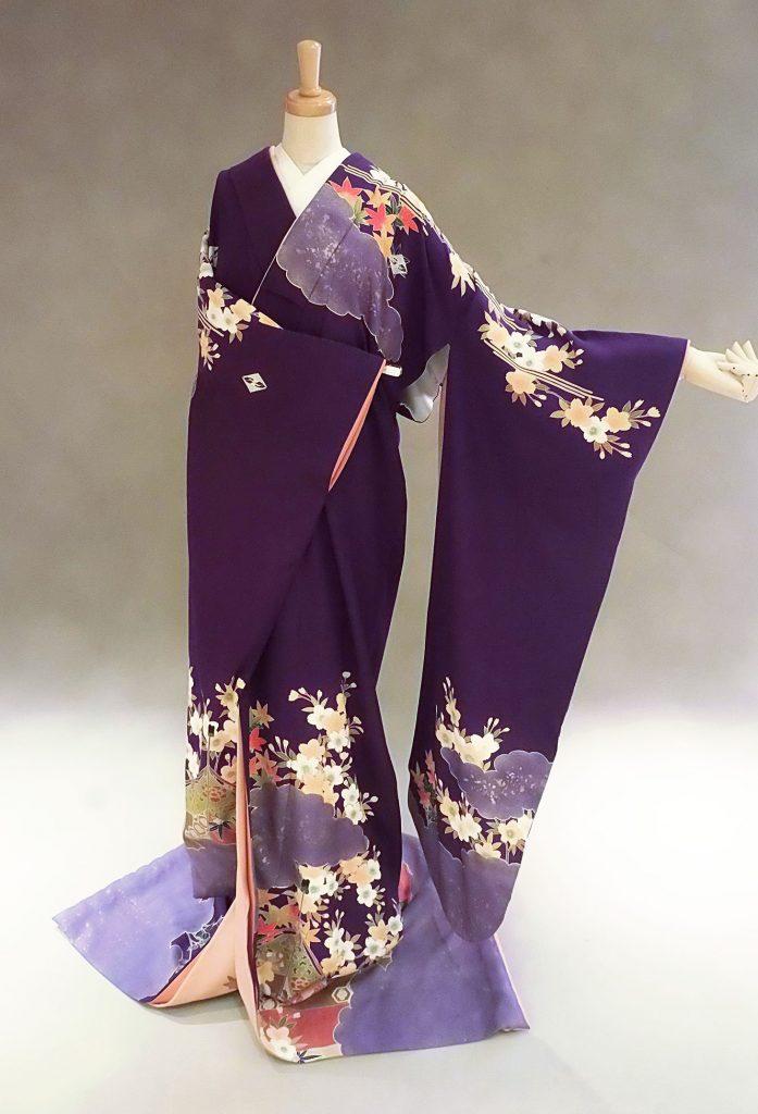 家紋入り紫桜雲取り